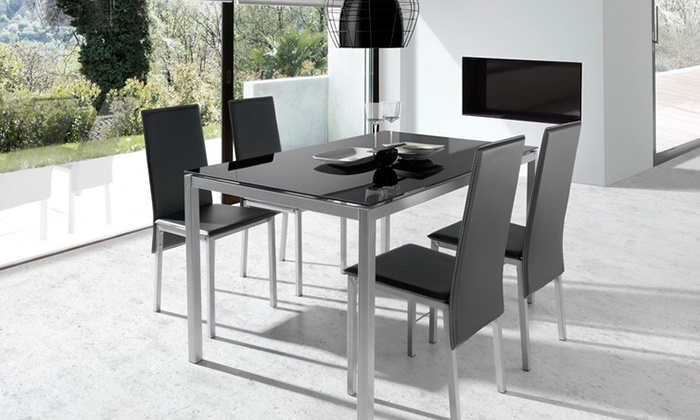 Mesa de sal n y cuatro sillas groupon goods for Mesas y sillas de salon