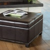 Tufted Bonded-Leather Storage Ottoman