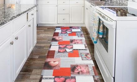 Tappeto passatoia da cucina con stampa digitale e fondo antiscivolo, disponibile in varie dimensioni e fantasie