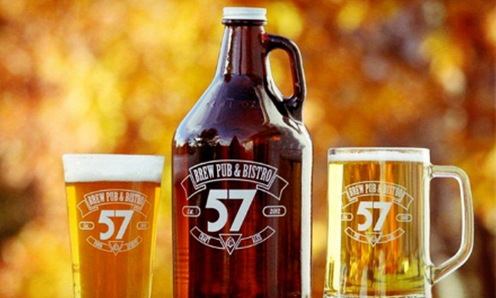 57 Brew Pub & Bistro - Greenville: Beer Samplers and Pita-and-Cheese Appetizers for Two or Four at 57 Brew Pub & Bistro (Half Off)