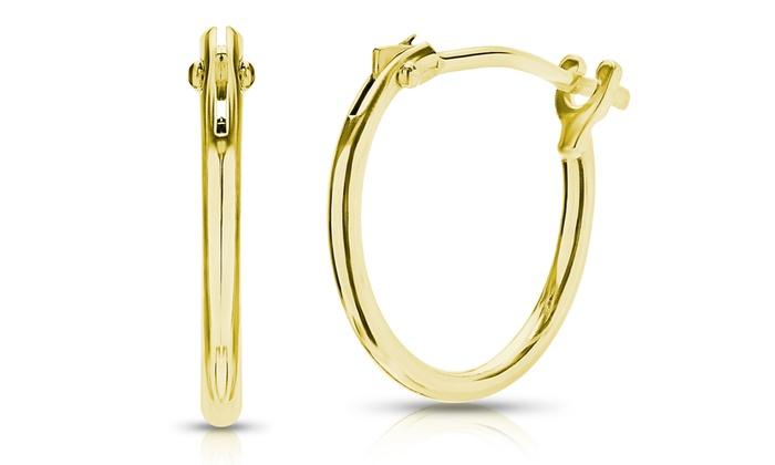 Men S Solid 14k Gold Hoop Earrings