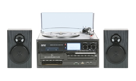 QFX Multi-Functional Bluetooth Turntable System with CD Player, Cassette Deck, AM/FM Radio, and 2 Satellite Speakers 1101c872-4aed-11e7-a603-00259069d868