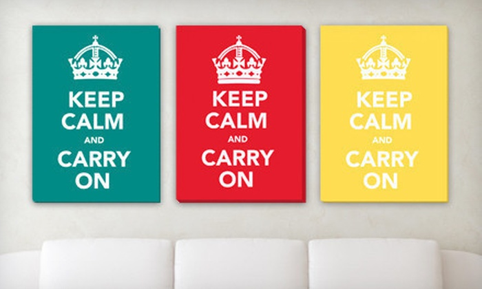 """$49 for a """"Keep Calm and Carry On"""" Canvas Gallery Wrap ($223 List Price). Free Shipping. Eight Colors Available."""