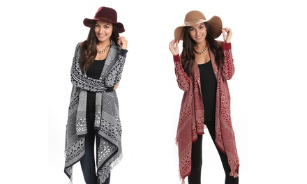 Women's Aztec Print Long Cardigan