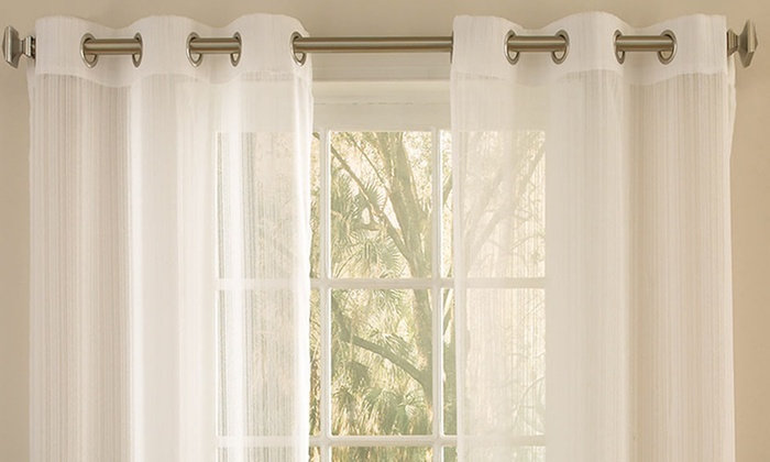 "One Pair of 84"" Sheer Grommet Panel Curtains: One Pair of 84"" Sheer Grommet Panel Curtains. Multiple Styles Available. Free Returns."