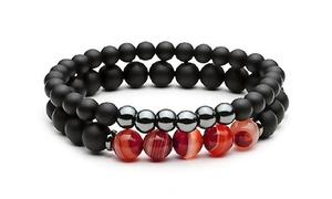 (Beauté)  Bracelets hématite et obsidienne -81% réduction