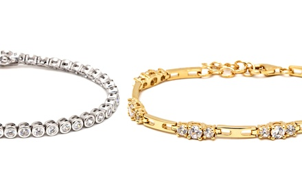 18K Gold-, 18K Rose-Gold-, or Rhodium-Plated Sterling Silver Cubic Zirconia Tennis Bracelets