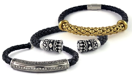 Braided Leather Bracelets with Stainless Steel or 18-Karat Gold Plating. Multiple Styles Available.