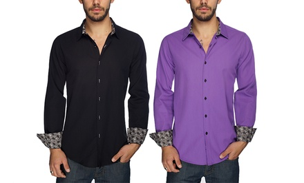 Harve Bernard Men's Modern Button-Down Shirts