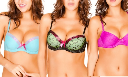 3D Push-Up Padded Bra. Multiple Designs Available.