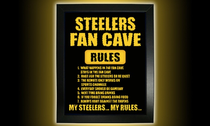 "Stadium Studio - Colonial Park: ""Rules for Fan Cave"" Plaque, Team Plaque, or Jersey Framing at Stadium Studio (Up to 56% Off)"