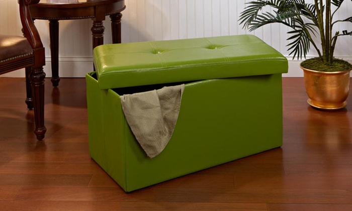 """30"""" Collapsible Faux Leather Storage Ottoman: 30"""" Collapsible Faux Leather Storage Ottoman in Black, Chocolate, Lime, or Red. Free Returns."""