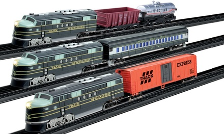 One or Three Classic Toy Train Sets With 3.5m Track and Motorised Engine