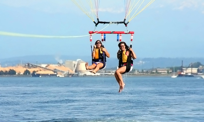 Pacific Parasail - Ram Restaurant : Parasailing Experience for One or Two with 25-Picture SD Card from Pacific Parasail (40% Off)