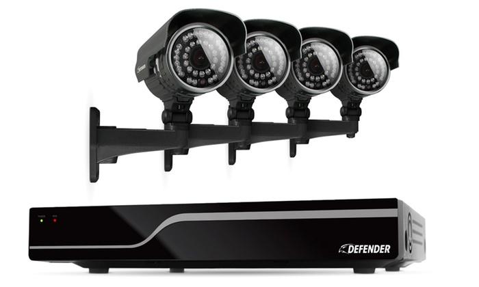Defender 4-Channel DVR Security System: Defender 4-Channel DVR Security System with 500GB HDD and 4 CMOS 600TVL Cameras (21027). Free Returns.