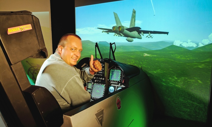 Air Combat Zone - Mississauga: Standard- or Double-Duration Mission in F-18 Fighter Jet Flight Simulators for Two at Air Combat Zone (50% Off)