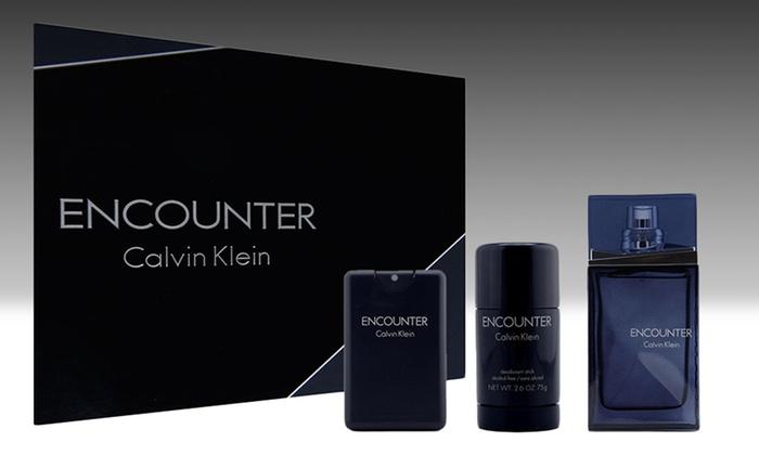Encounter by Calvin Klein Men's Gift Set: Encounter by Calvin Klein Gift Set for Men with 3.4 Fl. Oz. and 0.68 Fl. Oz. Eau de Toilette and 2.6 Oz. Deodorant