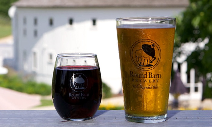 Round Barn Winery, Distillery & Brewery - Baroda: Tasting Package for 2 or 4 with Glasses at Round Barn Winery, Distillery & Brewery (42% Off)