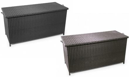 Park Alley Geflecht-Kissenbox aus Polyrattan mit 2 Hydraulikzylindern und 2 integrierten Rollen in Braun oder Schwarz (Frankfurt)