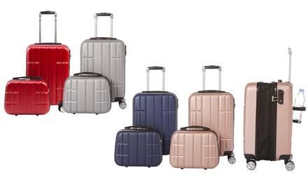 Valise cabine en ABS avec porte gobelet intégré et vanity case, coloris au choix