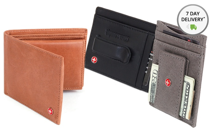 Alpine Swiss Leather Wallets: Alpine Swiss Men's Leather Wallet. Multiple Styles Available. Free Returns.