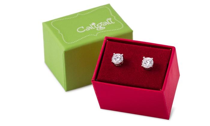 Cali Gali 2-Carat Cubic Zirconia Stud Earrings: Cali Gali 2-Carat Cubic Zirconia Stud Earrings. Free Returns.
