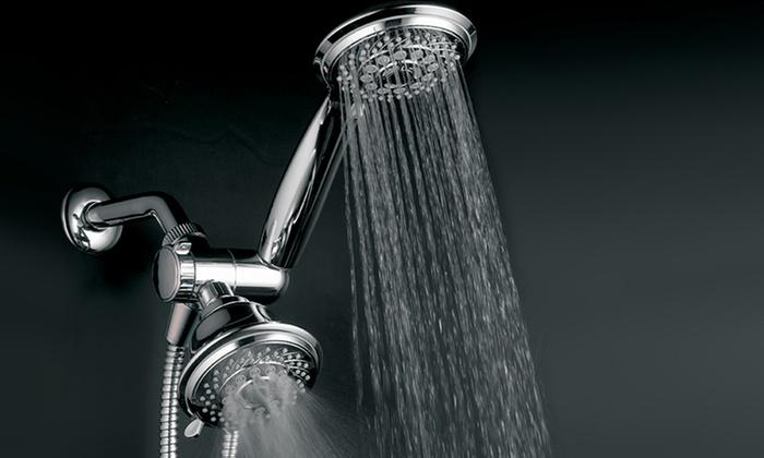 HotelSpa Ultra-Luxury Spiral 30-Setting 3-Way Twin Shower Head: HotelSpa Ultra-Luxury Spiral 30-Setting 3-Way Twin Shower Head