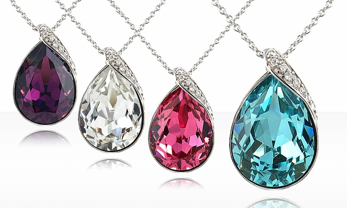 Swarovski Elements Teardrop Necklaces: $19.99 for Sterling Silver Swarovski Elements Teardrop Necklaces ($99.99 List Price). Free Shipping and Returns.