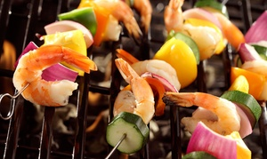 Skewers Bar and Grill: Skewers and Burgers at Skewers Bar and Grill (40% Off). Two Options Available.