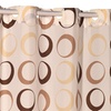 """""""Circles"""" Brown EZ-ON No-Hooks-Needed Fabric Shower Curtain"""