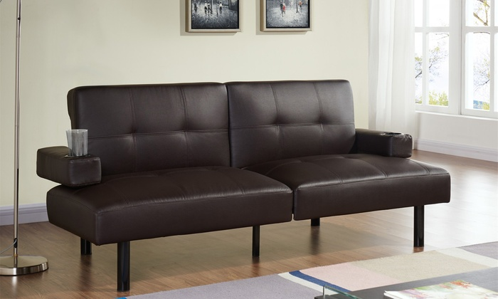 Groupon Goods Global GmbH: Hilton Klapp-Sofa aus PU-Leder in Braun oder Schwarz (58% sparen*)