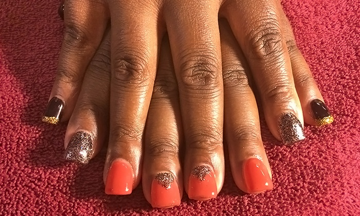 Gretchen Caldwell's Goddess to Goddess Nail Designs at Aplus Hair & Nails - Reno: One or Two No-Chip Mani-Pedis, Gels or Acrylics with Mini Pedicure, or Royal Pedicure Package (Up to 57% Off)