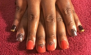 Gretchen Caldwell's Goddess to Goddess Nail Designs at Aplus Hair & Nails: One or Two No-Chip Mani-Pedis, Gels or Acrylics with Mini Pedicure, or Royal Pedicure Package (Up to 57% Off)