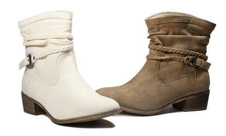 Bucco Women's Pike Ankle Boot in Beige or Taupe. Free Returns.