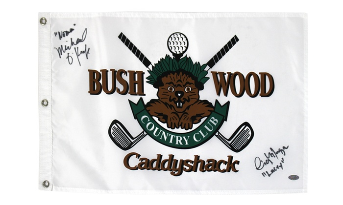 Caddyshack Signed Golf Flag: Caddyshack Golf Flag Signed by Cindy Morgan and Michael O'Keefe from Steiner Sports