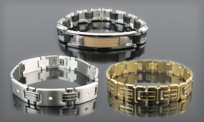 Men's Stainless-Steel Bracelets: $15 for a Men's Stainless Steel Bracelet ($79.95 List Price). 28 Options Available. Free Shipping and Free Returns.