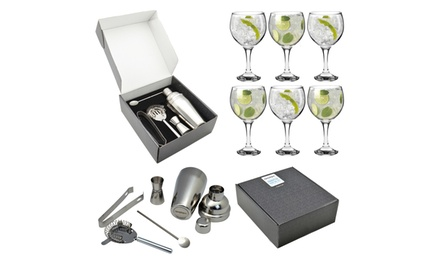 Argon Tableware Six Gin Balloon Glasses and FivePiece Manhattan Cocktail Set