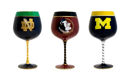 NCAA Hand-Painted Artisan Wine Glass