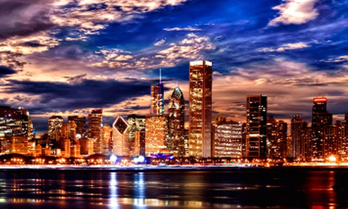 "Art & Company - Orland Park: Framed 36""x14"" Framed Canvas Chicago-Skyline Giclée with Optional Shipping from Art & Company (Up to 67% Off)"