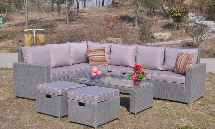 Rattan effect garden corner sofa set for Affordable furniture alexandria louisiana