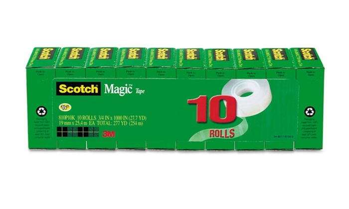 "10-Pack of Scotch Magic Tape: 10-Pack of 3/4"" Scotch Magic Tape with a 1"" Core"