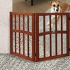 Wood Pet Gate with Inlaid Ceramic Paw Print Accent