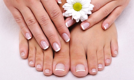 Mani-Pedi or Deluxe Hot-Stone Mani-Pedi Massage Package at Amor Nails Body Spa (Up to 51% Off)