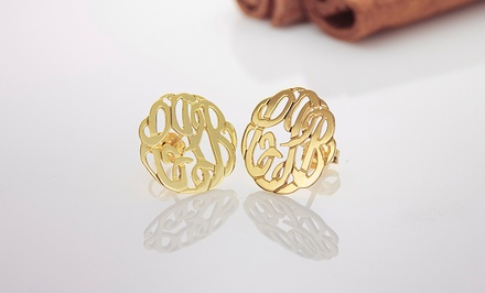 $39 for Handmade Script Monogrammed Stud Earrings from Monogramhub.com ($134 Value)
