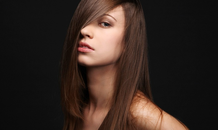 Expo Salon - Englewood: Haircut Package with Optional Flat-Iron Straightening or Full or Partial Highlights at Expo Salon (Up to 68% Off)