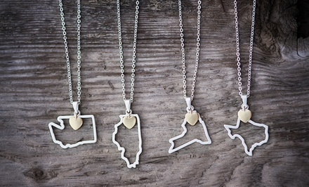 Heart Charm and State Necklace