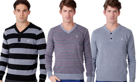 One90One Men's Slim-Fit Henley or V-Neck Sweaters. Multiple Styles Available.