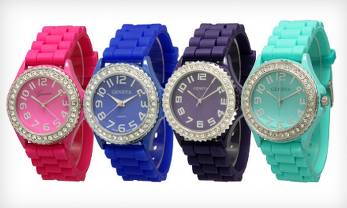 6e66d489a36f74 $8 for a Geneva Silicone Watch | Groupon
