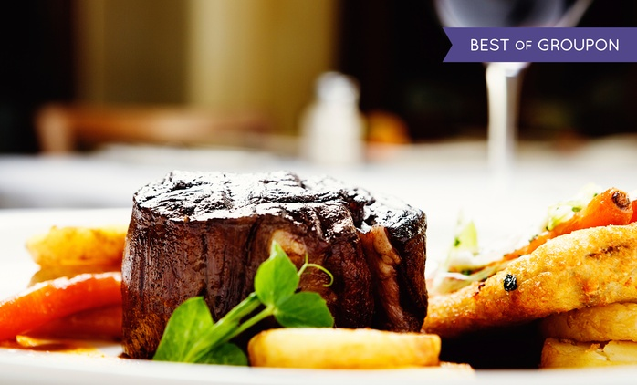 Steak Dinner with Wine for Two at Courtyard Restaurant at the Carnegie Court Hotel (39% Off)