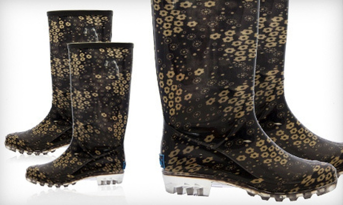 BootsiTootsi Black-and-Gold Rain Boots: $24 for a Pair of BootsiTootsi Black-and-Gold Floral Rain Boots ($48 List Price). Five Sizes Available. Free Shipping.